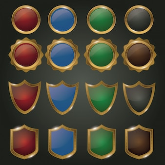 Set di badge d'oro
