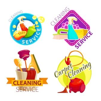 Set di badge del servizio di pulizia