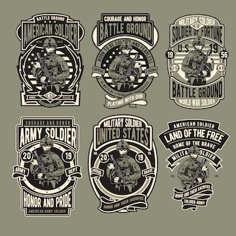 Set di badge dell'esercito