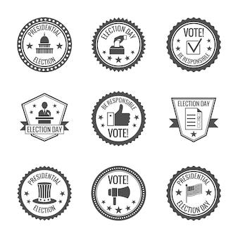 Set di badge delle elezioni
