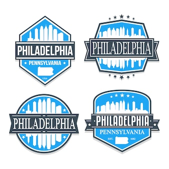 Set di badge di philadelphia e pennsylvania