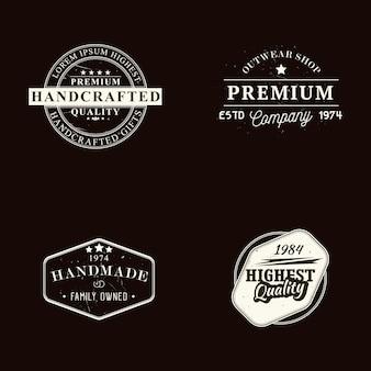 Set di badge di qualità fatti a mano, artigianali e premium e modelli di design con effetto grunge, illustrazione vettoriale