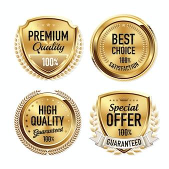 Set di badge di qualità oro di lusso