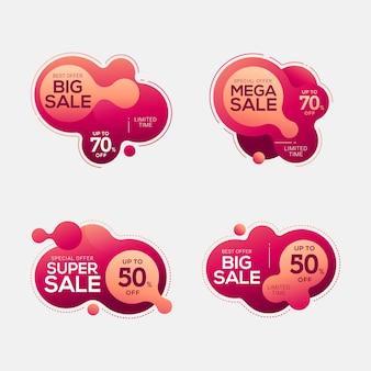 Set di badge di vendita con forme astratte di colore liquido