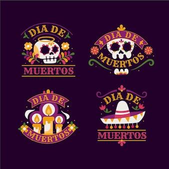Set di badge dia de muertos design piatto