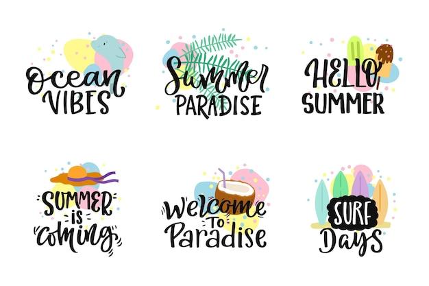 Set di badge estate lettere
