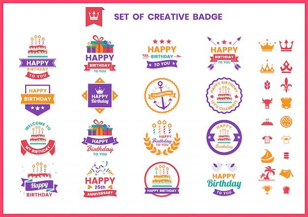 Set di badge, etichette e icone di buon compleanno