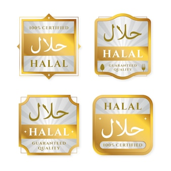 Set di badge / etichette per halal in design piatto