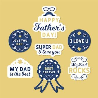 Set di badge festa del papà dell'acquerello
