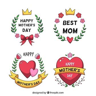 Set di badge festa della mamma con ornamenti carini