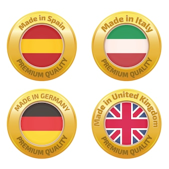 Set di badge made in spagna, italia, germania, regno unito