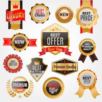 Set di badge o medaglie per negozio. qualità premium. etichetta del miglior prezzo.