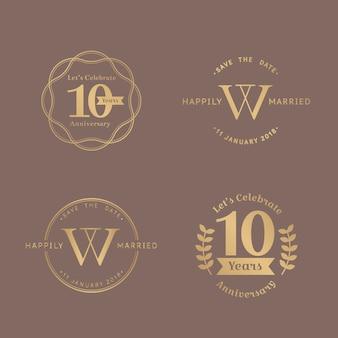Set di badge per l'anniversario