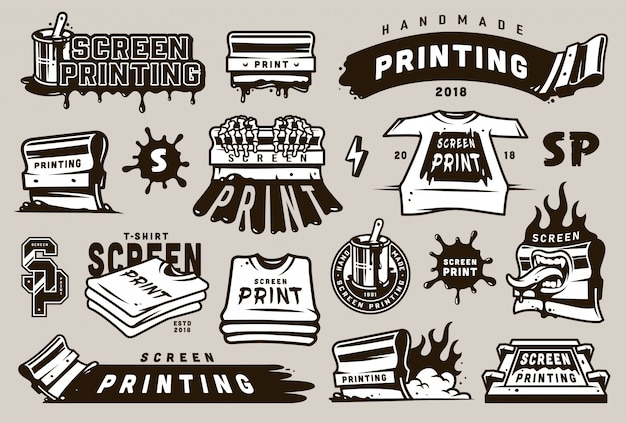 Set di badge per serigrafia vintage