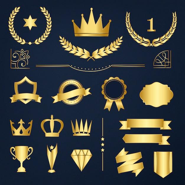 Set di badge premium e banner vettoriale