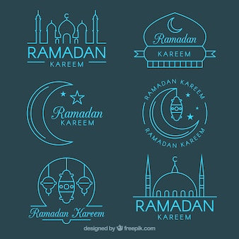Set di badge ramadan in monoline