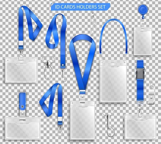 Set di badge realistici titolari di carte d'identità su cordini blu con clip per cinturino, cavo e illustrazione di fermagli