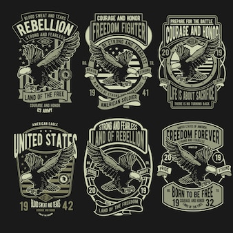 Set di badge rebellion eagle