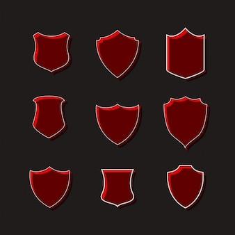 Set di badge rosso disegni di etichetta