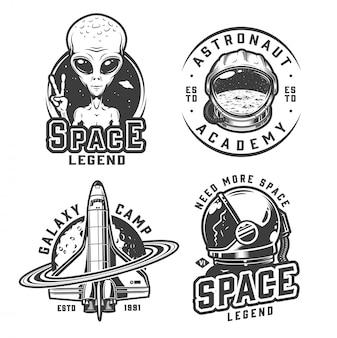 Set di badge spazio monocromatico vintage
