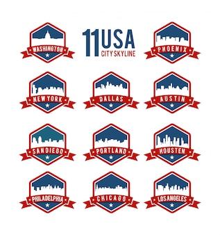 Set di badge usa skyline della città, città americane