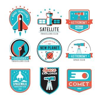 Set di badge vintage, astronauti, emblemi, loghi ed etichette.