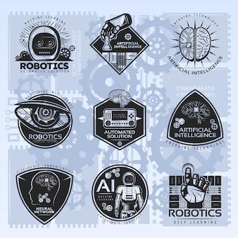 Set di badge vintage intelligenza artificiale