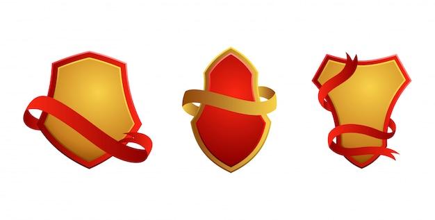 Set di badge vintage. scudi con nastri. vendita, qualità premium, migliore scelta, etichette originali.