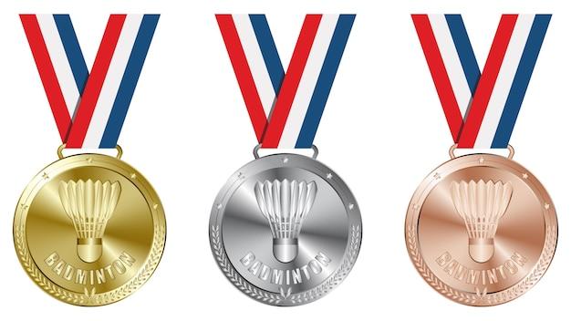 Set di badminton oro, argento e medaglie di bronzo.
