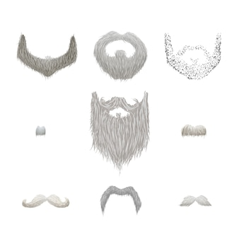 Set di baffi grigi dettagliati e barbe su bianco