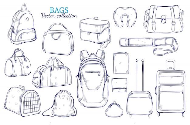 Set di bagagli da viaggio disegnati a mano