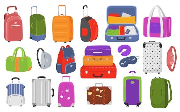 Set di bagagli da viaggio per illustrazione di vacanza e viaggio. valigie in plastica, metallo, zaini, borse per bagagli. valigie da viaggio con ruote, borsa da viaggio, bagaglio da viaggio, turismo.