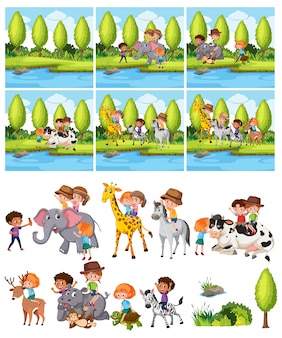 Set di bambini che cavalcano animali