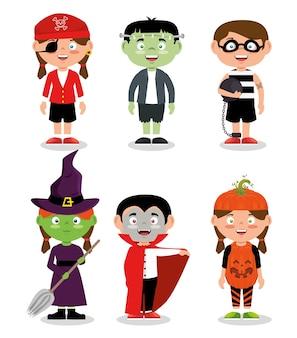 Set di bambini che indossano costumi di halloween