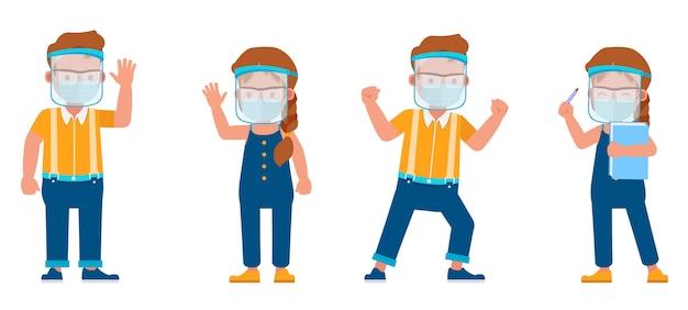 Set di bambini che indossano maschera medica e personaggio scudo viso. presentazione in varie azioni con emozioni.