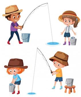 Set di bambini che pescano