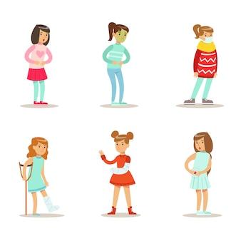 Set di bambini con malattia, ragazze che soffrono di fratture, influenza, illustrazioni di dolore addominale