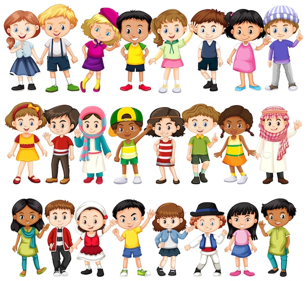 Set di bambini di razze diverse