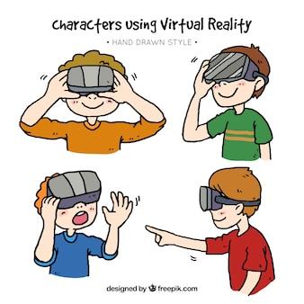 Set di bambini felici disegnati a mano che godono con gli occhiali di realtà virtuale