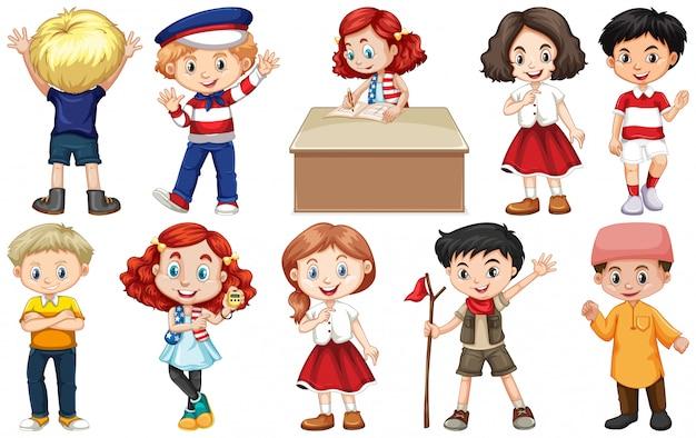 Set di bambini provenienti da diversi paesi