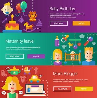 Set di bambino, illustrazioni moderne di maternità, banner, intestazioni con icone e personaggi. volantini per il tuo