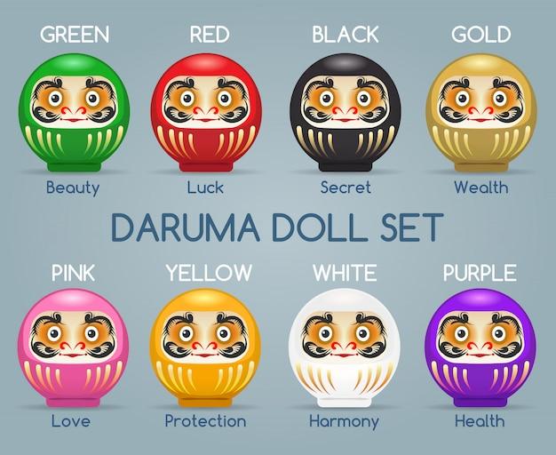Set di bambole di monaci daruma colorati in giappone