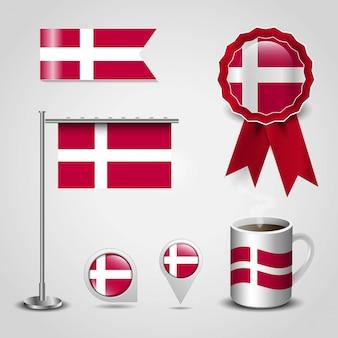 Set di bandiera del paese danimarca