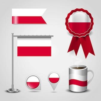 Set di bandiera del paese di polonia