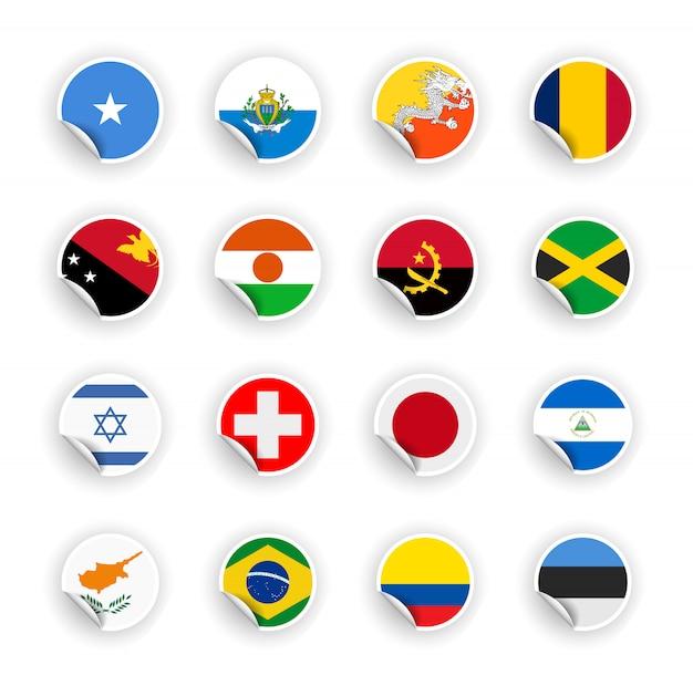 Set di bandiera del paese in adesivi