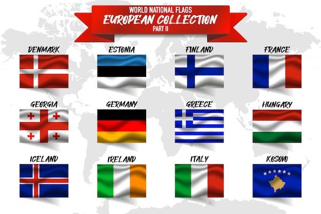 Set di bandiera nazionale del paese europeo su sfondo di mappa del mondo.