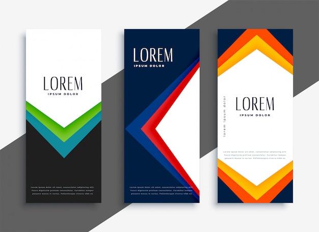 Set di bandiere colorate geometriche astratte