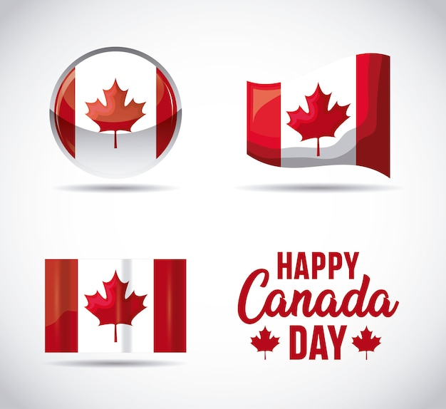Set di bandiere dei patriottici del canada