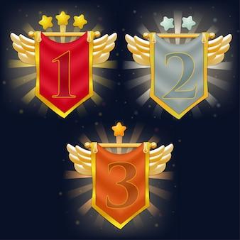 Set di bandiere del cavaliere della vittoria con ali e stelle