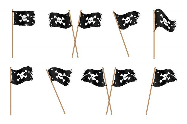 Set di bandiere di pirati neri sfilacciati con ossa e teschio